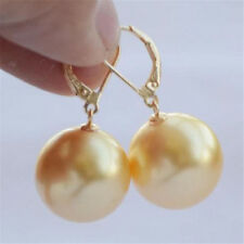 Aurora REAL 16mm south sea golden shell pearl earrings  CLASP gorgeous party