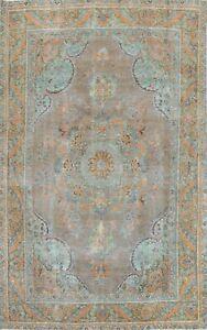 Antique Floral Tebriz Handmade Area Rug Gray/ Green Wool Oriental Carpet 6x10 ft