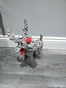 37 cm Natural Rattan Standing Reindeer Red Seasonal Bow Christmas Decoration