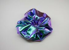 Shiny Iridescent Metallic Purple Hair Scrunchie Holographic Blue Dancewear