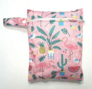 Small Wet Bag for Nappies, Breast Pads, Wipes, Cloth Pads - Pink Flamingos *UK*