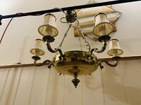 Georgian Style Neo-Classical Chandelier, 6 Branch Solid Brass Ceiling Light