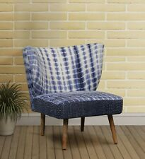 TYE AND DYE LIVING ROOM CHAIR KANTHA STITCH NATURAL FINISH