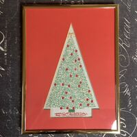 Finished Gallery Framed Needlepoint Christmas Tree Holiday Gold Red Green Art