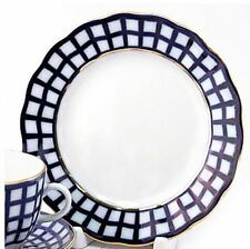 AUTHENTIC RUSSIAN Lomonosov porcelain Cobalt Check Dessert Plate 6 Inch