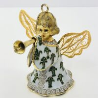 Emerald Angel Christmas Ornament Bell Vintage Enamel Fluer de Lis Trumpet