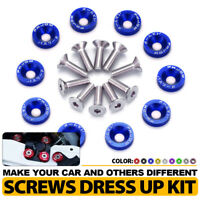 10 Pcs Blue M6 x 19MM Billet Aluminum Fender Washers Engine Screws Dress Up Kit