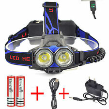 20000LM XM-L T6 LED 2Head Headlight USB Headlamp+18650 Battery+2xChargers