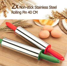 Stainless Steel Metal Non Stick Rolling Pin Baking Pastry Tool Dough 40CM Colour