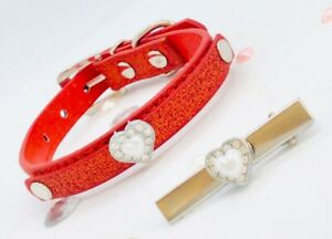 Red Dog Cat Puppy  Diamante Glitter Heart Xs Collar  & Silver Dog Clip Slide Set