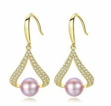 Round Fresh Natural Pearl Drop Earrings 925 Silver Sterling W/18K Gold Plated
