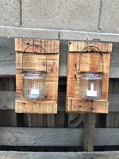 Set 2 Reclaimed Oak Wood Jar Wall Sconces Rustic Pallet Barn Country Wedding