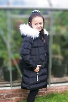 Charcoal Fashion Girl's Back to School Black Quilted Parka with White Fur