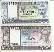 Cape Verde Lot Set 500-1000 Escudos 1977 P 55- P 56. Unc Condition. 5Rw 16Feb