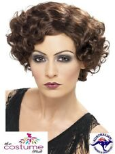 1920s Brown Flapper WIG Ladies Short Wavy Hair 20s Fancy Dress Accessories