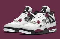 Nike Air Jordan 4 Retro PSG Shoes White Maroon Black CZ5624-100 Men's NEW