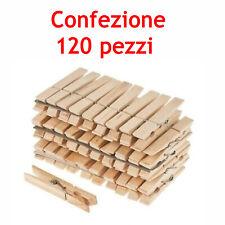 MOLLETTE PINZE BUCATO PANNI LEGNO EXTRAFORTE CONFEZIONE DA 120 PEZZI