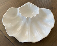 Vintage Seashell Serving Dish JAPAN White Chip & Dip Bowl Dish Ceramic Clam