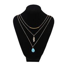 Boho Womens Three Layers Leaf Pendant Choker Necklace Turquoise Chain Jewelry