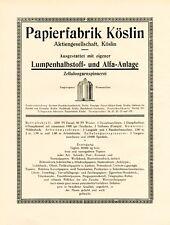 Paper mill Koszalin XL 1924 ad Köslin  advertising +
