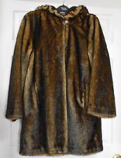 Dennis Basso Women's Faux Fur Brown Coat With Hood