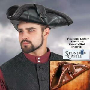 Elaborate Pirate Tricorn Hat in Leather. Great for Stage, Costume & Re-enactment