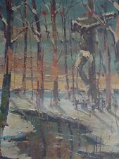 LEOPOLD LECOMTE 1890-1963 PAYSAGE CHRIST EN CROIX ECOLE BELGE MONTMARTRE TABLEAU