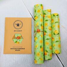 Set of 3 Natural Beeswax Food Wraps, Zero Waste Living, Reusable, Lemon design