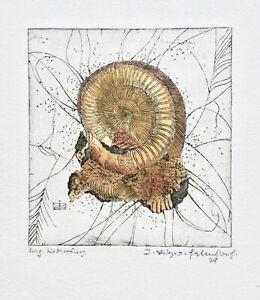 Surreale Komposition, Muschel, Schnecke, Fossilien, signierte Farbradierung 1979