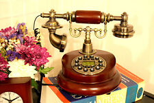 Desk Phone Wooden Button Dial Retro Corded Home Decor Birthday Gift for Mother