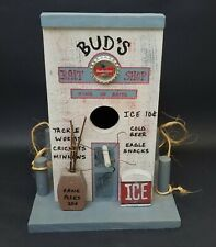 The Old Budweiser Bait & Tackl Bird House Solid Cedar Wood Unique Handmade in US