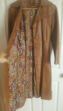 Vintage ESPAGNA Camel TAN Leather COAT Jacket Lined in gorgeous fabric! 36 8 10