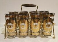 Vintage Set of 8 GEORGES BRIARD 22k Gold Highball Glasses W/ Caddy 1960's MCM