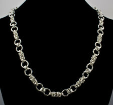 Byzantine Ring Handmade Chain Maille Necklace .925 Sterling Silver 21 Inches iDu
