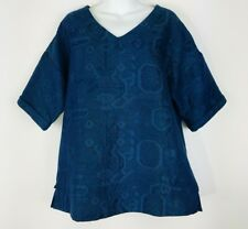 Soft Surroundings Quilted Damask Lagenlook Tunic Top S Blue Teal Oversized Boxy