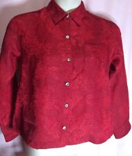 """Chicos Large? 40"""" Bust Top Red Career Evening Floral Blouse Size 0 Shirt Y20"""