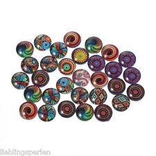 50 Transparent Muster Glascabochons Glasstein Glaskuppel Klebstein 10mm LP