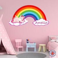 Personalised Unicorn Wall Sticker Girls Bedroom Nursery Kids Name Rainbow Vinyl