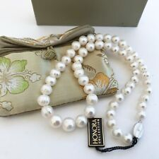 """Honora graduated 9 –12mm white ringed pearl necklace 20"""" NWT 925 clasp"""