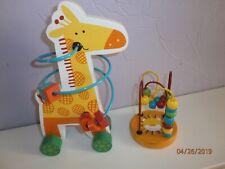 Wooden baby Round Coloured Maze Metal Beads & Push Along Wheeled Giraffe 2 items