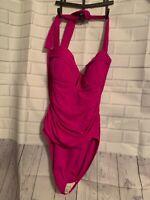 NWT Bleu Rod Beattie Womens Swimwear PINK Size 10  Strappy One Piece $119