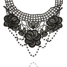 2016 New  Fashion Halloween Black Lace Flower Pendent Choker Necklace Jewelry UK