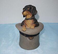 Tabaktopf Zylinder mit Hund um 1880, Johann Maresch - Deckeldose