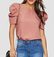 Puff Sleeve Short Sleeve Round Neck Elegant Blouse Top Casual Work