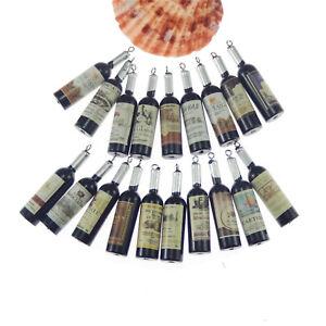 10 pcs Black Resin Red Wine Bottle Pendant Keychain Earring Making Charm 52x7mm