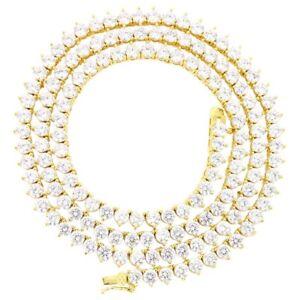 3 Prong Tennis Necklace 14k Gold Finish Lab Diamonds Bling 4mm Chain/Bracelet