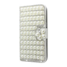 For Samsung Galaxy S5 G900 I9600 Flip Closure 3D Diamond Pearl Glossy White I0X5