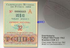 Fußball Weltmeisterschaft 1962 + WM Final Ticket + Orig. Repro Postkarten Serie