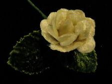 """Millinery Flower 1"""" DollSize Velvet Rose Kq5 Ivory Ecru"""