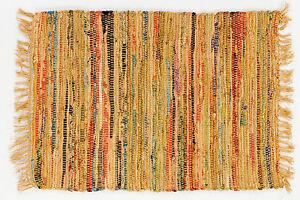 "Country Rag Rug Runner in Mustard Color, 24"" x 72"", 100% Cotton Carpet Runner"